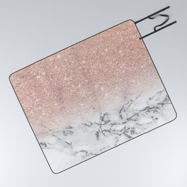 Modern faux rose gold pink glitter ombre white marble Picnic Blanket