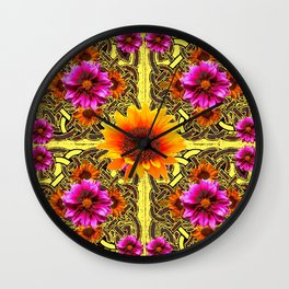 YELLOW SUNFLOWER PURPLE FLORAS CELTIC ART Wall Clock