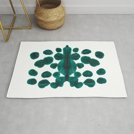 Teal Green Bubble Pattern Inkblot Rorschach Test Rug