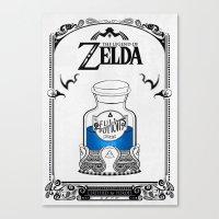 the legend of zelda Canvas Prints featuring Zelda legend - Blue potion  by Art & Be
