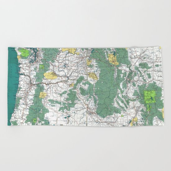 Pacific Northwest Map Beach Towel