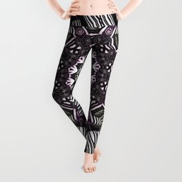 Mandala in black and white with hint of purple and green Leggings