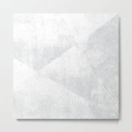 White and Gray Lino Print Texture Geometric Metal Print