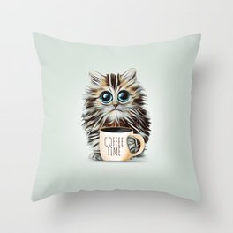 cat coffee time Throw Pillow