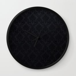 Black damask- Elegant and luxury design Wall Clock