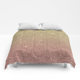 Rose Gold and Yellow Gold Glitter Mesh Comforters