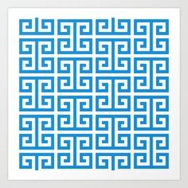 Bright Blue and White Greek Key Pattern Art Print