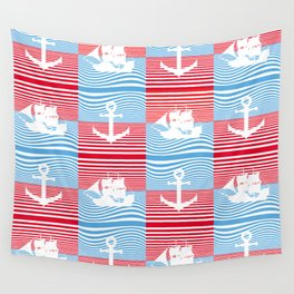 Sailboat and anchor pattern Wall Tapestry