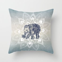 Elephant  Mandala Throw Pillow
