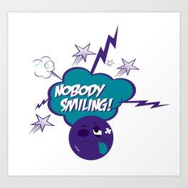 Nobody Smiling Emoji - Volt Art Print