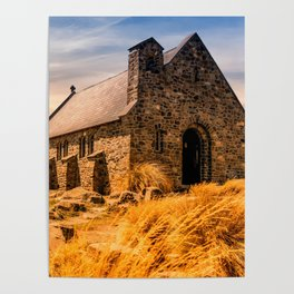Old Stone Church on Colorful Landscape Poster