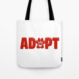 Shiny Red ADOPT Animal Paw Print with  White Heart Tote Bag