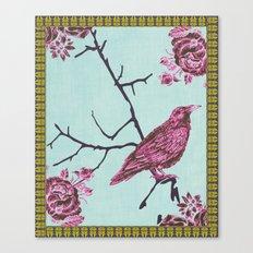 Crow & Roses 3 Canvas Print