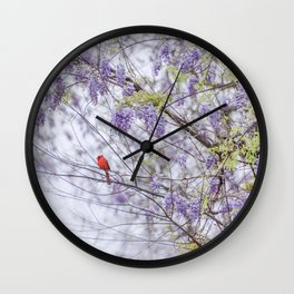 Cardinal and wisteria Wall Clock