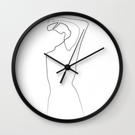 """Fashion Line Collection"" - Minimal One Line Woman Pose Print Wall Clock"