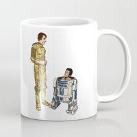 c3po Mugs featuring C3PO & R2D2 by joshuahillustration