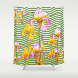 White-Pink  yellow Iris Wave Art Shower Curtain