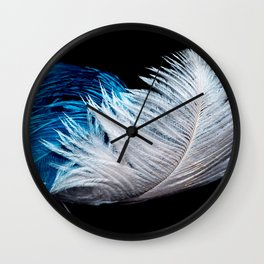 Blue and white feathers Wall Clock