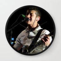 arctic monkeys Wall Clocks featuring Alex Turner // Arctic Monkeys by Hattie Trott