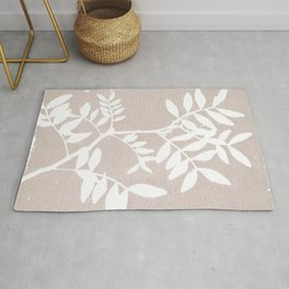 Farmhouse botanical lilac and white floral handmade print 7 Rug