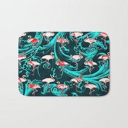 Flamingos Baroque Flourish Pattern Pink Blue Bath Mat