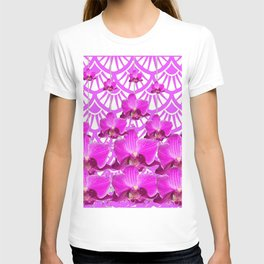 PURPLE ART DECO PATTERN ORCHIDS PATTERN ABSTRACT T-shirt