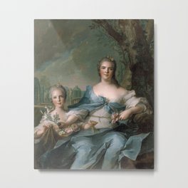 Jean-Marc Nattier - Portrait of the Duchess of Parma and her Daughter Isabelle Metal Print
