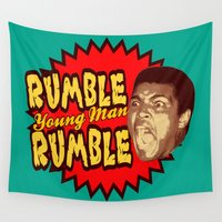 ali gulec Wall Tapestries featuring Rumble Young Man Rumble  |  Ali by Silvio Ledbetter