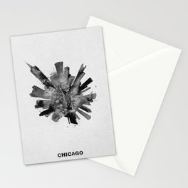 Chicago, Illinois Black and White Skyround / Skyline Watercolor Painting Stationery Cards