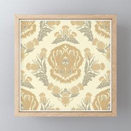 Golden Retriever with Thistle Damask Pattern Framed Mini Art Print