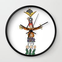 fandom Wall Clocks featuring The Fandom Totem Pole by Tricksterbelle Productions