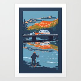 Retro Airstream Travel poster Art Print