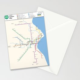 Milwaukee Transit System Map Stationery Cards
