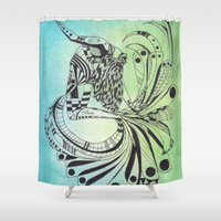 pisces Shower Curtains featuring Pisces by Heaven7