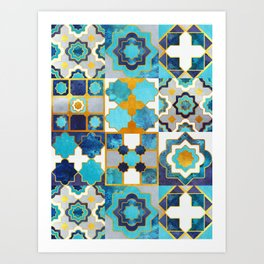 Spanish moroccan tiles inspiration // turquoise blue golden lines Art Print