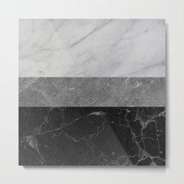 Marble - White, Grey, Black Metal Print