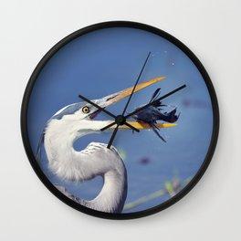 Great Blue Heron with Sailfin Catfish Wall Clock