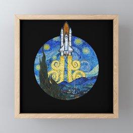 Starry Space Shuttle Framed Mini Art Print
