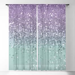 Purple Teal Mermaid Ocean Glitter #1 (Faux Glitter) #shiny #decor #art #society6 Sheer Curtain