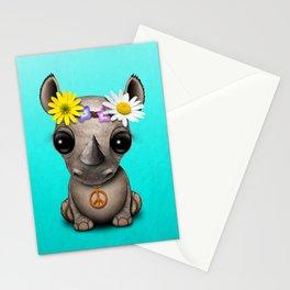 Cute Baby Rhino Hippie Stationery Cards