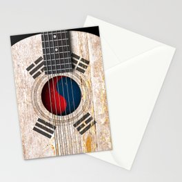 Old Vintage Acoustic Guitar with South Korean Flag Stationery Cards