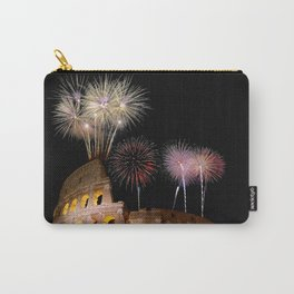 Colosseum illuminated with fireworks in Rome. Carry-All Pouch