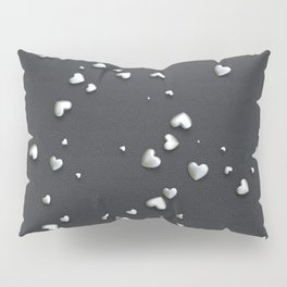 VALENTINE HEARTS - Silver Hearts & Dark Leather Pillow Sham