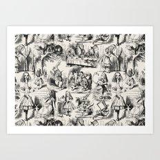 Alice in Wonderland   Toile de Jouy   Black and Beige Art Print