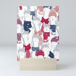 Happy llamas Christmas Choir III Mini Art Print