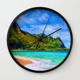 Pacific Isles, A Landscape Painting by Jeanpaul Ferro Wall Clock