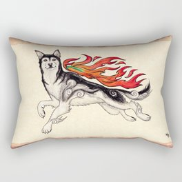 Marukomu Inukami ~ Ōkami inspired husky dog, watercolor & ink, 2015 Rectangular Pillow