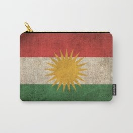Old and Worn Distressed Vintage Flag of Kurdistan Carry-All Pouch