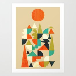 Mountains Hills and Rivers Art Print