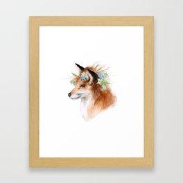 Flower Crowned Fox Framed Art Print